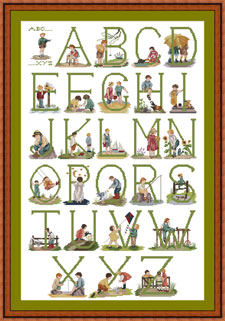 Alphabet with Green Lettering