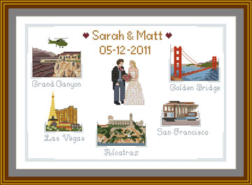 Grand Canyon,Golden Bridge, Las Vegas, Alcatraz and San Francisco Cross stitch