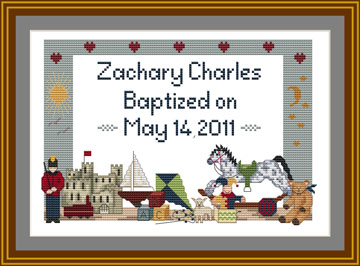 Christening Baptism Cross stith sampler