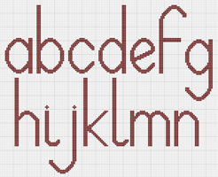 Lowercase cross stitch alphabet chart