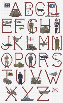 Military Cross stitch Alphabet